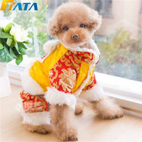 TATA New Year Dog Pet Tang Dynasty Costume Puppy Winter Warm Clothes Coat Jumpsuit for Small Size Dog Christmas