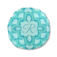 Throw Pillow, Monogram Pillow, Round Pillow, accent pillow, personalized pillow, Ikat style, aqua pillow, turquoise pillow, with insert