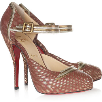 Christian Louboutin Myriam 120 embossed-leather pumps NET-A-PORTER.COM