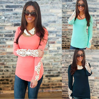 Summer Womens Casual Cotton Casual Tops Long Sleeve Loose T-Shirt Blouse = 1930462340
