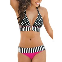 2016 New Arrival Summer Style Bathing Suit Sexy Stripe Fringe Dotted Large Size Bikini Top Bottom Swimsuit for Women Swimwear