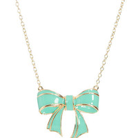 Epoxy Bow Pendant Necklace | Shop Jewelry at Wet Seal