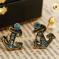 ancient vintage style,anchor earrings with blue crystal ,unique earrings E17