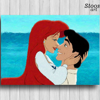 ariel and eric little mermaid print disney love disney princess ariel painting