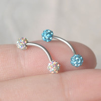 Rook earring,Eyebrow ring,sparkling balls Eyebrow ring,delicate earring