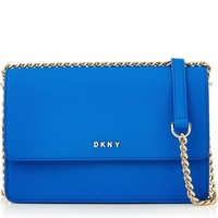 Bryant Park Small Flap Saffiano Crossbody - Blue
