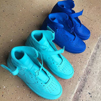 Aqua Blue Or Dark Blue Nike Air Force Ones Custom Hand Painted Unisex Sizes Available