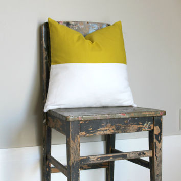Acid Yellow & White color block pillow cover, white cushion cover, industrial decor, two tone pillow cover, lumber pillow