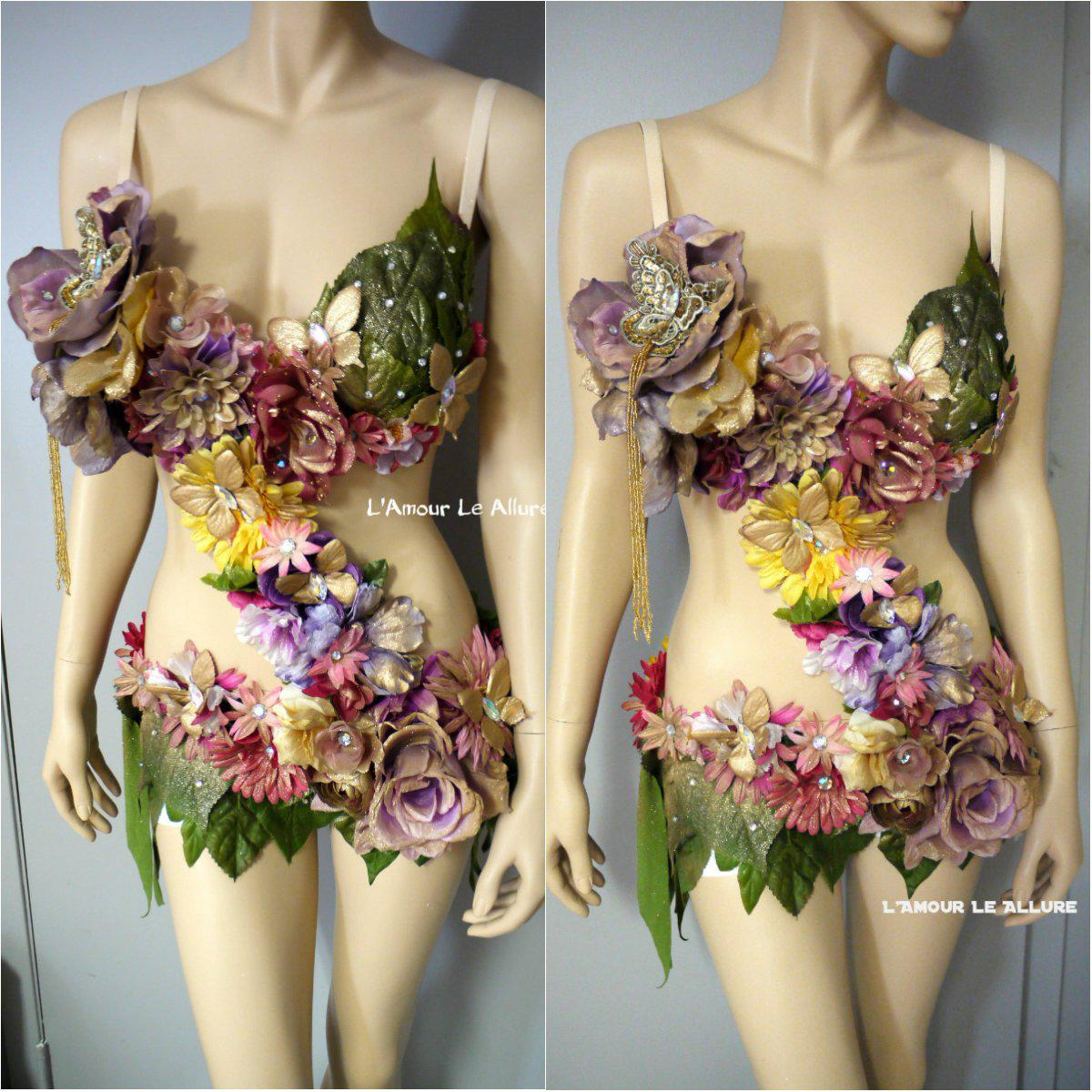 Image of Pink Yellow Lavender and Gold Spring Fairy Monokini Costume