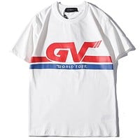 Givenchy Tide brand men and women letters striped printed round neck shirt T-shirt white