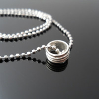 Ring Necklace, Silver Necklace, Bead Necklace, Popcorn Necklace, Sterling Necklace, Italy 925 Necklace, Silver Bead Necklace, 925 Bead Chain