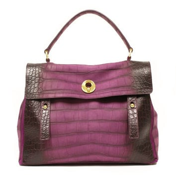 YSL Muse 2 Yves Saint Laurent Muse Two Large Purple Croc Satchel