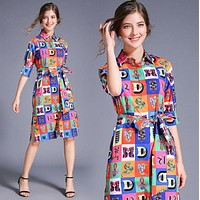 VERSACE Newest Hot Sale Women Print Half Sleeve Lapel Shirt Dress