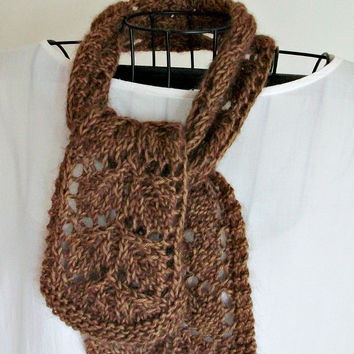 Knit Leaf Lace Scarf Pattern Frosted Fall Leaves Easy Knitting