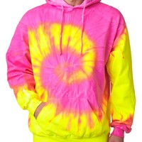 Tie dye Adult Tie-Dyed Floures Blended Hooded Sweatshirt