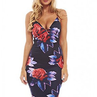Black Red Flower Deep V-Neck Crisscross Midi Dress