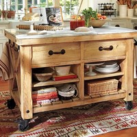 Hamilton Reclaimed Wood Marble-Top Kitchen Table - Large | Pottery Barn