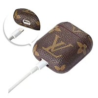 LV Fashionable iPhone AirPods Bluetooth Wireless Earphone Protector With Louis Vuitton Monogram Print Protective Case(No Headphones)