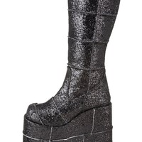 Demonia Black Glitter Boots : Cyber Gogo Boots from RaveReady