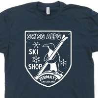 Vintage Ski T Shirt Swiss Alps Shirt Zermatt Switzerland Skiing Snowboard Shirt