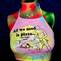 SWEET LORD O'MIGHTY! PIZZA AND DOGGY STYLE TIEDYE HALTER