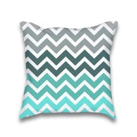 Turquoise Grey Fade Chevron Pattern Throw Pillow