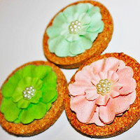Decorative Blue, Green, and Pink Cork Flower Magnets - 3 Pack!