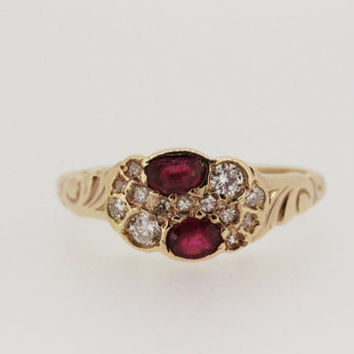 Vintage Ruby Ring Diamond Ring Rose Gold Ring Estate Ring Victorian Ring Engraved Ring Gemstone Ring Promise Ring Size 5.75