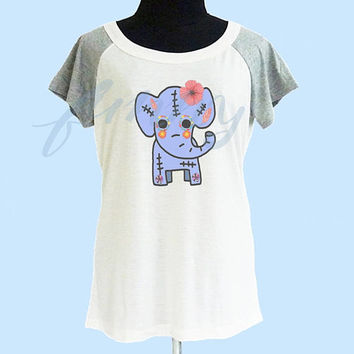 Blue elephant skull shirt wide neck thin tshirt** off white grey women t shirt size S M L **quote shirt **cute tshirts