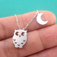 Owl Bird Crescent Moon Charm Necklace In Silver   Animal Jewelry