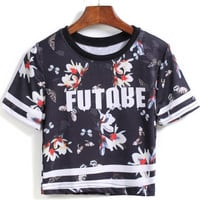 Black Short Sleeve Butterfly Printed Crop Top