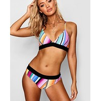 New fashion multicolor stripe straps two piece bikini swimsuit