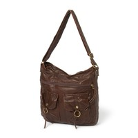 Knoxville Distressed Faux Leather Messenger Bag    Icing