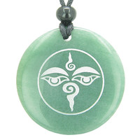 Buddha All Seeing Third Wisdom Eye Amulet Green Quartz Pendant Necklace