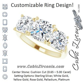 Cubic Zirconia Engagement Ring- The Skylah (Customizable Triple Cushion Cut Design with Quad Vertical-Oriented Round Accents)