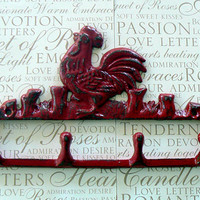 Rooster Wall 4 Peg Hook Red Distressed Cast Iron Shabby Style Chic Rustic French Country Farmhouse Kitchen Primitive Mudroom Bathroom Hooks
