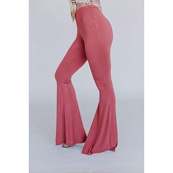 Cher Solid Flare Pants - Pale Brick