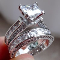 2-in-1 Womens Vintage White Sapphire Diamond 925 Sterling Silver Engagement Wedding Band Ring Set