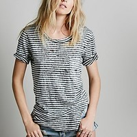 Free People Womens Destroyed Striped Tommy Tee -