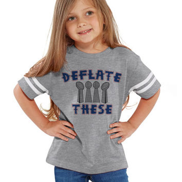 Deflate These Footballs Unisex NFL Kids Tee Jersey   Youth, Toddlers & Infants NFL Jersey Tees   Deflategate New England Patriots Boys Girls