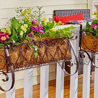 Decorative Metal Heart Scrolled Rail or Fence Planter Adjustable Lawn Yard Porch