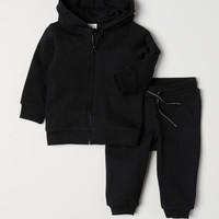 Hooded Jacket and Joggers - Black - Kids | H&M US