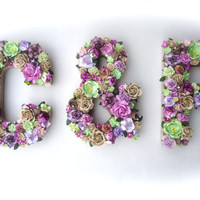 Custom Floral Letter Couple Initials - Bridal Shower Decor, Wedding Table Decor, Handmade Mulberry Paper Flowers, Your Color Choice