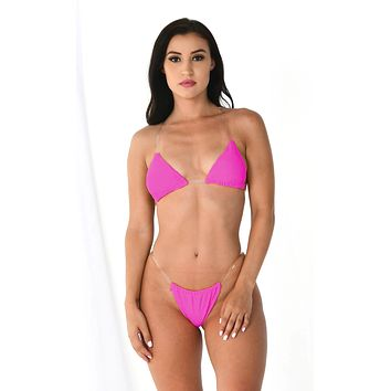 Breathing Underwater Neon Pink Clear Strap Triangle Top Thong Bikini Two Piece Swimsuit