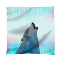 Dreamer of Dreams (Galaxy Wolf Northern Lights) Unisex Scarf / Mini Wall Tapestry created by soaringanchordesigns | Print All Over Me