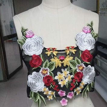 New women's condole belt mesh stitching embroidery big flower blouse