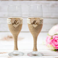 Wedding Flutes Champagne Rustic Toasting Glasses Mr Mrs