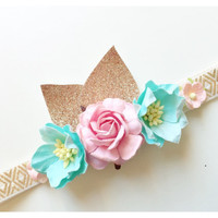Baby girl headband gold headband Pink flower crown baby crown gold crown birthday headband floral headband floral crown easter headband