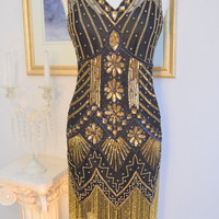 1920s Style Black Gold Beaded STARLIGHT Flapper Dress-S, m, l, xl  and plus sizes