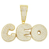 Men's Rich CEO Iced Out Gold Finish Solid Back .925 Pendant